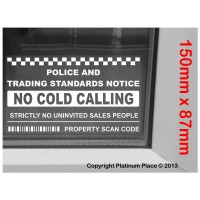 Inside Window Version-No Cold Callers,Salesman Calling Warning House Sticker-Self Adhesive Vinyl Sign
