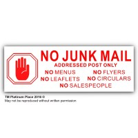No Junk Mail-HAND DESIGN-Leaflets,Menus,Flyers,Circulars,Salespeople--Letterbox Warning House Post Sticker-Salesman,Mail Box-Self Adhesive Vinyl Door Notice Sign