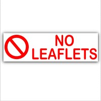 No Leaflets - Letterbox Warning House Sticker-Self Adhesive Vinyl Door Notice Sign
