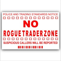 No Rogue Traders Zone-Red on White-Cold Callers,Salesman Calling Warning House Sticker-Self Adhesive Vinyl-Door or External Window Sign