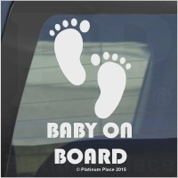 1 x Baby on Board-Cut Vinyl FEET Design-Internal Window Version-Funny Joke Novelty Car Sticker Decal-Great Christmas Present Gift Gifts-Universal Fit