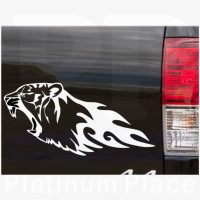Tiger Animal Cut Vinyl-Design 1-Platinum Place-Novelty Car Bumper Sign-External Window Sticker Decal-Flame,Fire-Great Christmas Present Gift Gifts - For Any Car VW Citroen Golf Ford BMW White Leopard-Excellent for Tinted Windows or Bodywork-Laptop