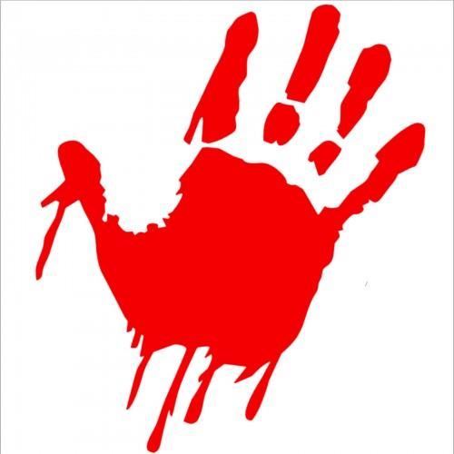 1 x bloody hand design red blood soaked cut vinyl sticker zombiekillermurder window or