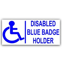 200mm Blue Badge Holder-EXTERNAL-Disabled Car Sticker -Disability Wheelchair- Mobility Self Adhesive Sign