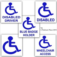 Disabled Sticker Set - 5 of Our Popular Stickers-Blue Badge Holder,Driver,Wheelchair Access,Logo  - Disability Signs