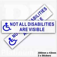 2 x Blue On White-Not All Disabilities are Visible-200mm x 43mm External Sticker for Car,Van,Truck,Vehicle.Disability,Disabled,Mobility,Self Adhesive Vinyl Sign Handicapped Logo