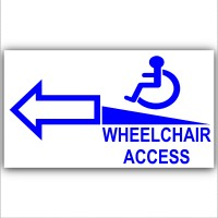 1 x Wheelchair Ramp-Left-Self Adhesive Vinyl Sticker-Disabled,Disability,Wheelchair Sign