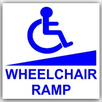 1 x Disabled Wheelchair Ramp-87mm Self Adhesive Vinyl Sticker-Disabled,Disability,Mobility ScooterSign