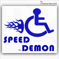 Funny Joke-Speed Demon-EXTERNAL BLUE ON WHITE-Disabled Car,Van Sticker-Disability Mobility Sign Outside Window Sticker for Truck,Vehicle,Self Adhesive Vinyl Sign Handicapped Logo