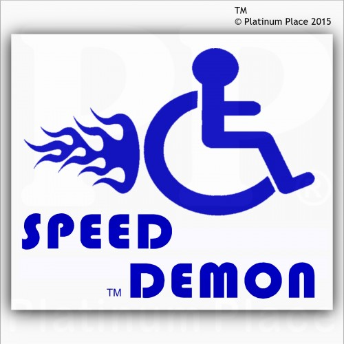 Funny joke speed demon external blue on white disabled carvan sticker disability mobility sign outside window
