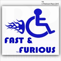 Funny Joke-Fast and Furious-EXTERNAL BLUE ON WHITE-Disabled Car,Van Sticker-Disability Mobility Sign Outside Window Sticker for Truck,Vehicle,Self Adhesive Vinyl Sign Handicapped Logo