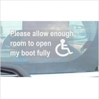 Please Allow Enough Room To Open My BOOT Fully-Window Sticker for Car,Van,Truck,Vehicle.Disabled,Disability,Mobility,Leave-Self Adhesive Vinyl Sign Handicapped Logo