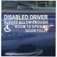 1 x Disabled Driver-White on Clear-Please Allow Enough Room To Open My Door Fully-Self Adhesive Vinyl Sticker-Disabled,Disability,Wheelchair Sign