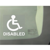 1 x Disabled Logo With Text Window Sticker - Disability Car Wheelchair Logo Sign