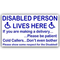 1 x Disabled Person Lives Here Sticker-External Window or Door Information Sign-Delivery/Sales-Mobility-Disability