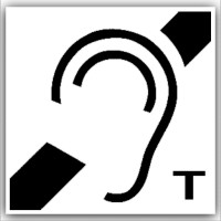 1 x Hard of Hearing Induction Loop Stickers with T Symbol-Self Adhesive Vinyl Stickers-Disabled,Disability,Hearing,Deaf Signs