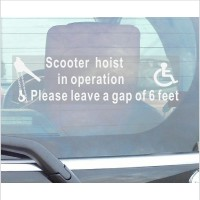 1 x Scooter Hoist In Operation-Please Leave A Gap Of 6 Feet-Window Sticker-300mm x 87mm-Disabled Logo-Disability Sign