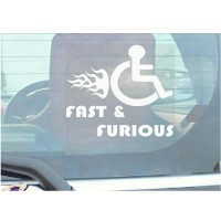 Funny Joke-Fast and Furious-Disabled Car,Van Sticker-Disability Mobility Sign Window Sticker for Truck,Vehicle,Self Adhesive Vinyl Sign Handicapped Logo