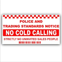 1 x No Cold Callers-SMALL 87x43mm-Salesman Calling Warning House Sticker-Self Adhesive Vinyl Door or External Window Sign