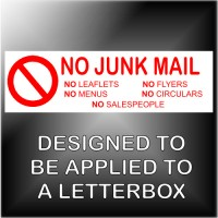 1 x No Junk Mail,Leaflets,Flyers,Menus,Salespeople,Circulars Warning Sticker Sign Notice